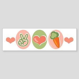 Peace Love Veggies Vegan Bumper Sticker
