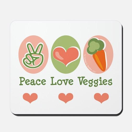Peace Love Veggies Vegan Mousepad