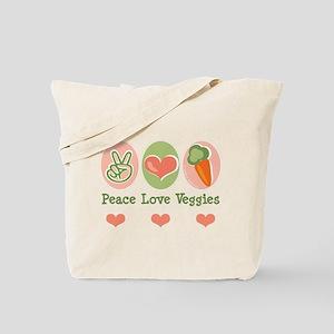 Peace Love Veggies Vegan Tote Bag
