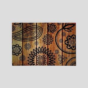 Ornate Wooden Planks 4' x 6' Rug