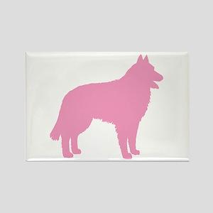 Pink Belgian Sheepdog Rectangle Magnet