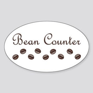 Bean Counter Coffee Beans Oval Sticker