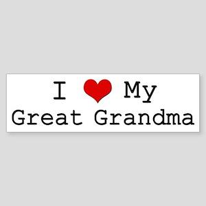 I Heart My Great Grandma Bumper Sticker