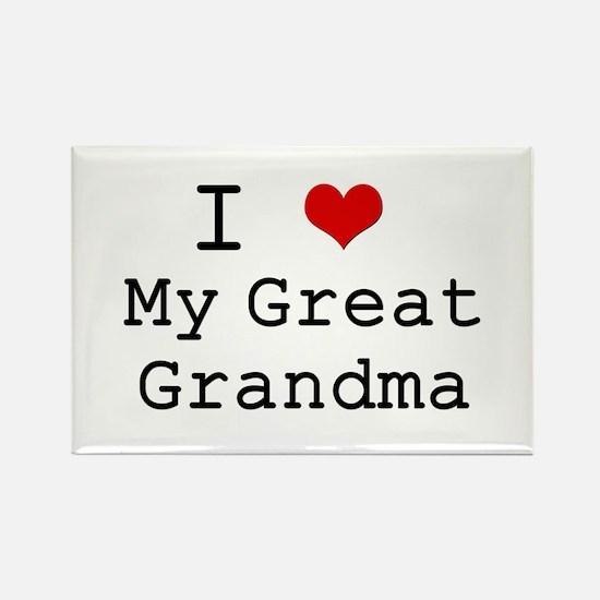 I Heart My Great Grandma Rectangle Magnet