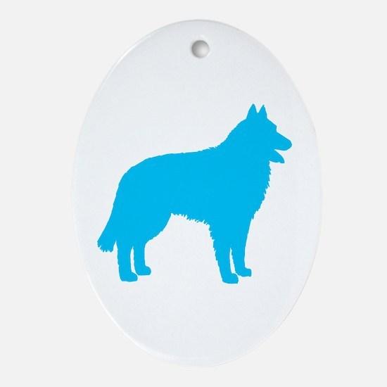 Blue Belgian Sheepdog Oval Ornament