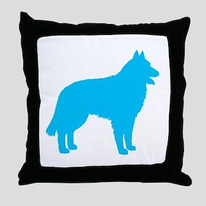 Blue Belgian Sheepdog Throw Pillow