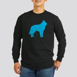 Blue Belgian Sheepdog Long Sleeve Dark T-Shirt