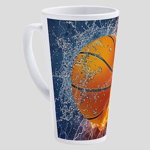 Flaming Basketball Ball Splash 17 oz Latte Mug