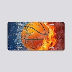 Flaming Basketball Ball Spl Aluminum License Plate