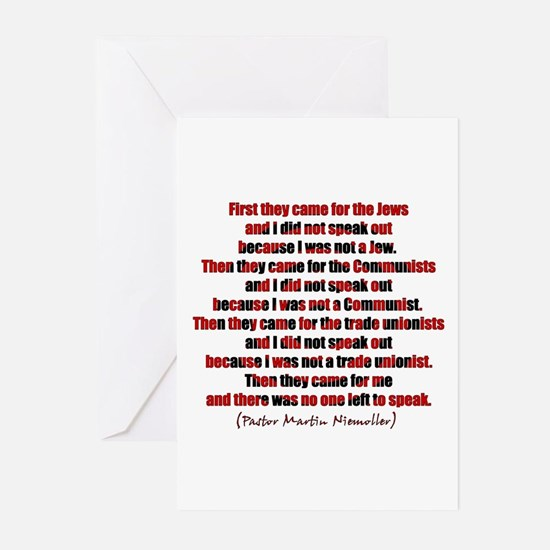 Pastor Niemoller Quote Greeting Cards (Package of