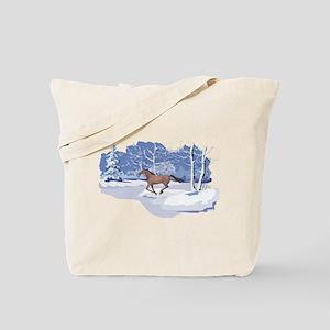 Scenic Winter Mustang Christmas Tote Bag