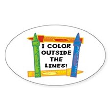 Color Outside The Lines Oval Sticker