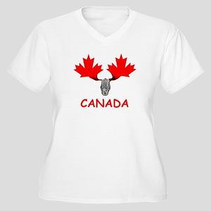 Canadian Flag Women's Plus Size V-Neck T-Shirt