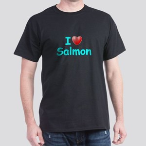 I Love Salmon (Lt Blue) Dark T-Shirt