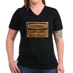 Warning Women's V-Neck Dark T-Shirt