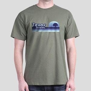 Galveston Texas Blue Retro Dark T-Shirt