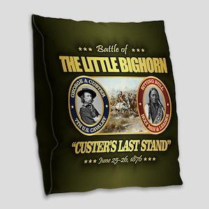 The Little Bighorn Burlap Throw Pillow