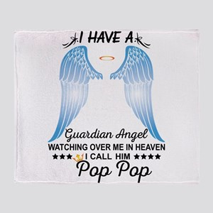 My Pop Pop Is My Guardian Angel Throw Blanket