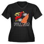FULL TILT Women's Plus Size V-Neck Dark T-Shirt