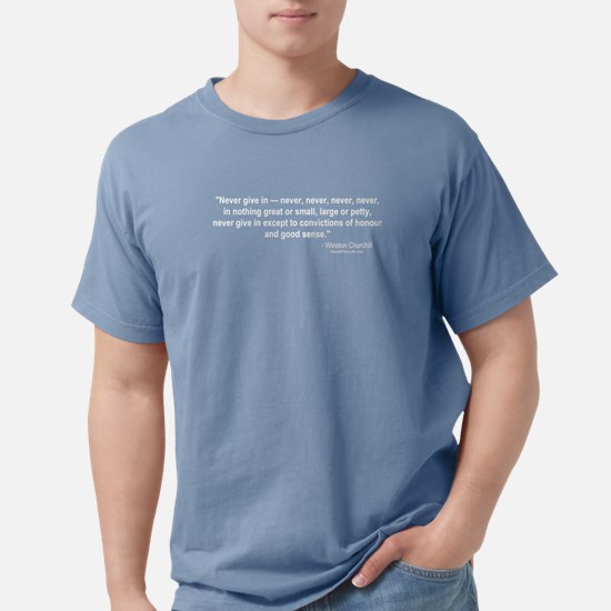 Winston Churchill: Never give in Black T-Shirt