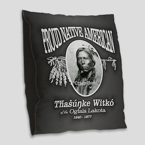 Crazy Horse PNA Burlap Throw Pillow