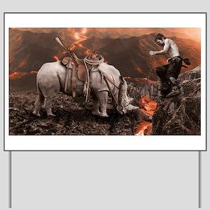 Rhino Rider on Volcano Yard Sign