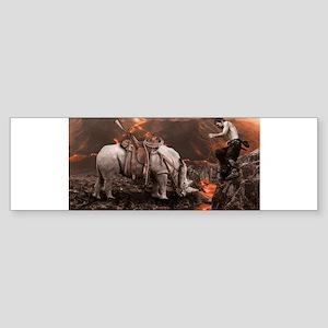 Rhino Rider on Volcano Bumper Sticker