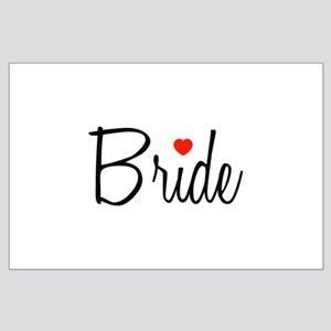 Bride (Black Script With Heart) Large Poster