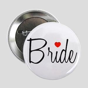 """Bride (Black Script With Heart) 2.25"""" Button"""