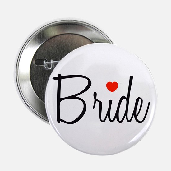 "Bride (Black Script With Heart) 2.25"" Button"