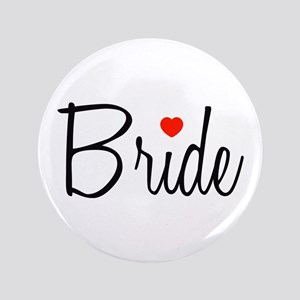 "Bride (Black Script With Heart) 3.5"" Button"
