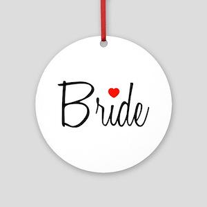 Bride (Black Script With Heart) Ornament (Round)