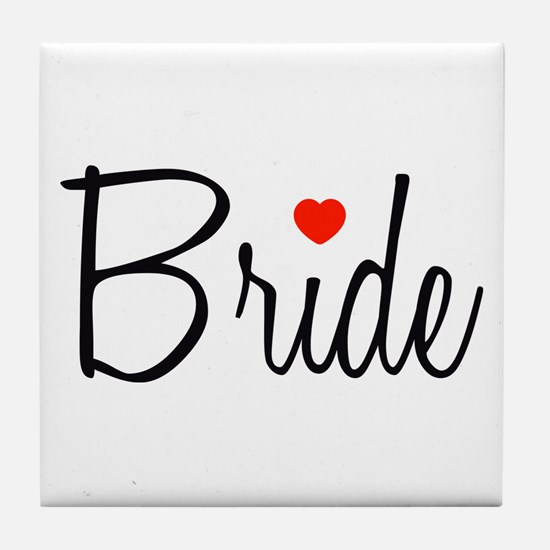 Bride (Black Script With Heart) Tile Coaster