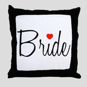 Bride (Black Script With Heart) Throw Pillow