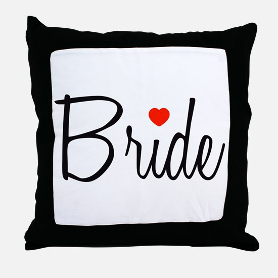 Bride (Black Script With Heart) Throw Pillow