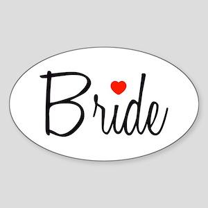 Bride (Black Script With Heart) Oval Sticker
