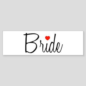 Bride (Black Script With Heart) Bumper Sticker