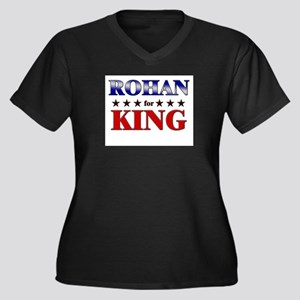 ROHAN for king Women's Plus Size V-Neck Dark T-Shi