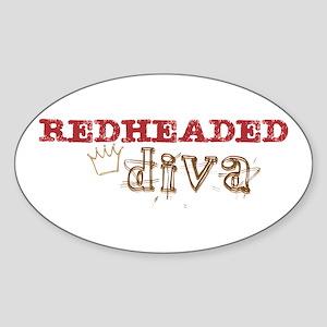Redheaded Irish Diva Oval Sticker