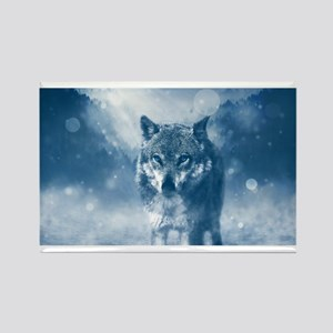 Growling Wolf in Snowfall Magnets