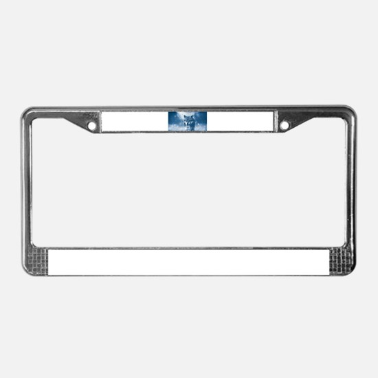 Growling Wolf in Snowfall License Plate Frame