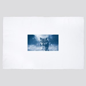 Growling Wolf in Snowfall 4' x 6' Rug