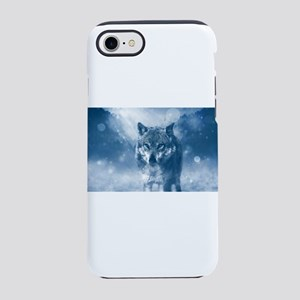 Growling Wolf in Snowfall iPhone 8/7 Tough Case