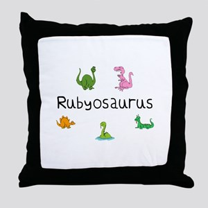 Rubyosaurus Throw Pillow