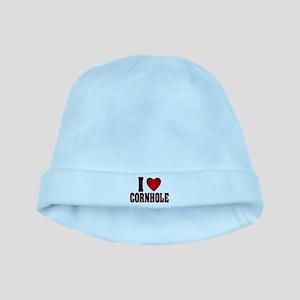 REDBLACK I HEART CORNHOLE trans Baby Hat