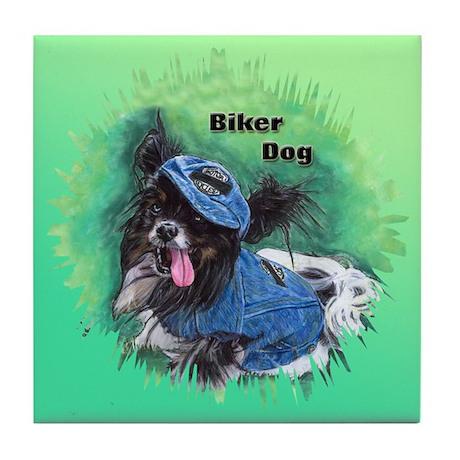 Papillon - Biker Dog Tile Coaster