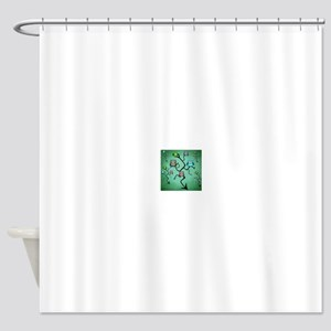 Extended Green owl Tree Shower Curtain