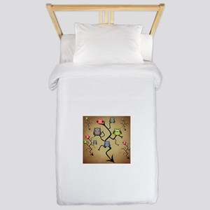 Extended Brown Owl Tree Twin Duvet Cover