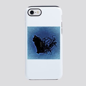 Smokey Cat on Blue iPhone 8/7 Tough Case