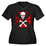 FABRICATOR Women's Plus Size V-Neck Dark T-Shirt